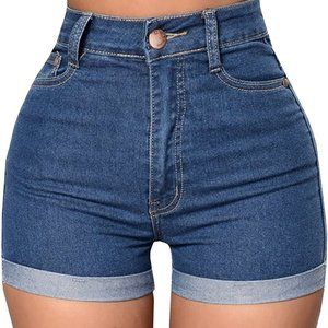 Pants - High Waisted Roll Up Shorts